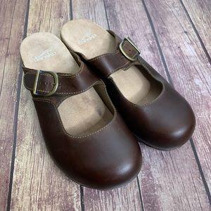DANSKO Brown Martina Leather Mary Jane Mule Clogs